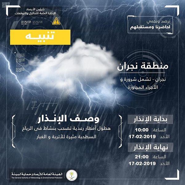 """Photo of """" الأرصاد """"تتوقع هطول أمطار رعدية على نجران"""