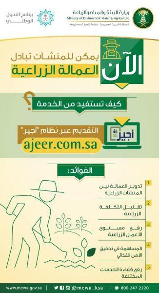 """Photo of """"البيئة"""" تعلن البدء في تقديم خدمات العمالة للمنشآت الزراعية عبر برنامج """"أجير"""""""