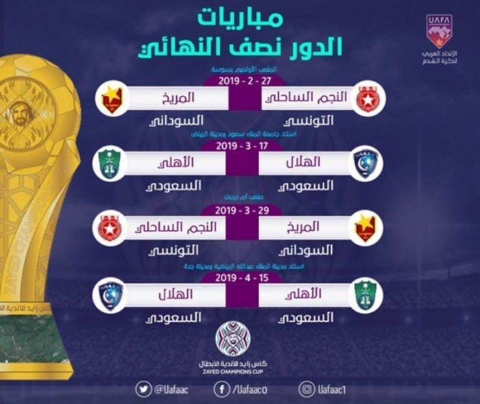 Photo of جدول مباريات الدور نصف النهائي من كأس زايد للأندية الأبطال كلاسيكو سعودي?? وصراع تونسي سوداني?