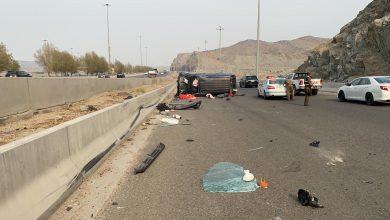 Photo of الهلال الأحمر بمكة يباشر حادث انقلاب نتج عنه حالة وفاة و (4 ) اصابات على طريق مكة – جده